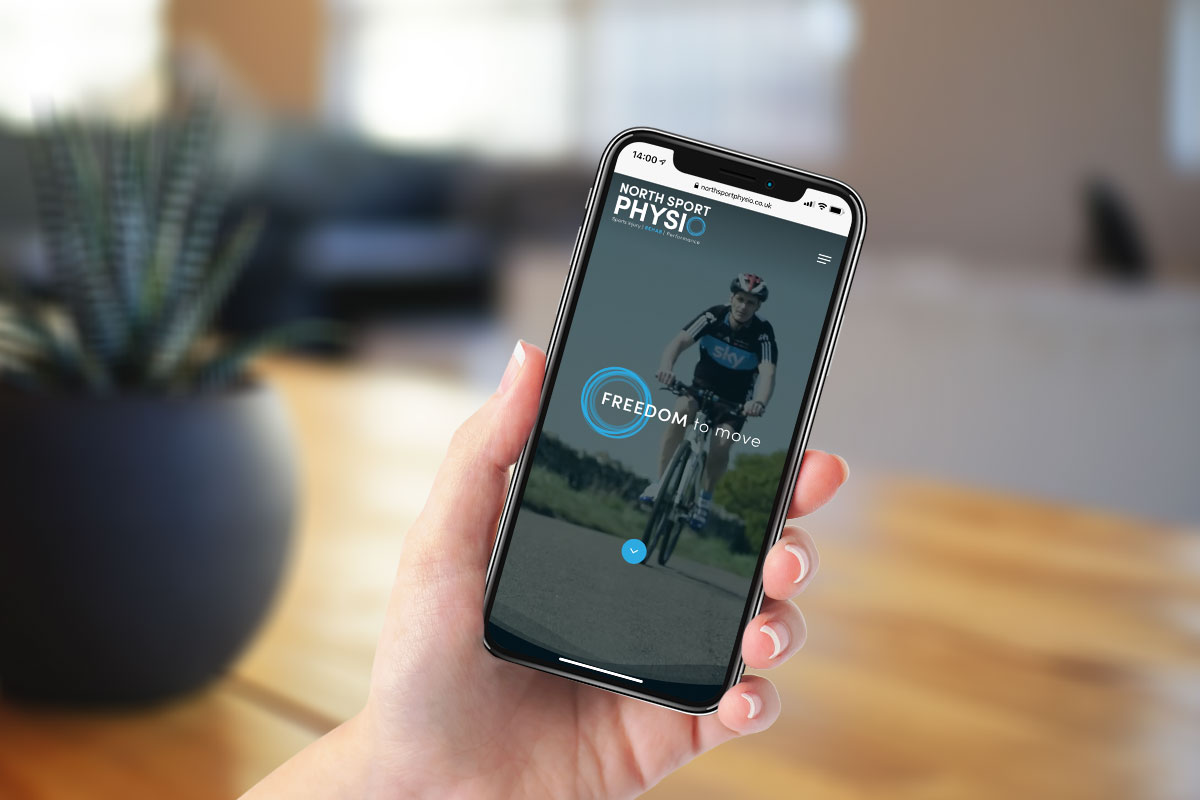 North Sport Physio website on a mobile